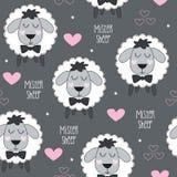 Seamless mister sheep lamb pattern vector illustration Royalty Free Stock Photos