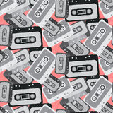 Seamless mix tape pattern 80s style Royalty Free Stock Image