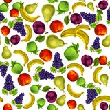 Seamless mixed fruits pattern background. Seamless mixed organic ripe fruits pattern background with apple plum peach grapes pear and banana hand drawn sketch Stock Image