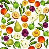 Seamless mixed sliced fruits pattern background Stock Photo