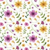 seamless modell Blommor med sidor, fjäril vektor illustrationer