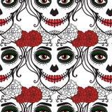 seamless modell Catrina kvinna med smink av sockerskallen de diameter los muertos Mexicansk dag av dödaen vektor stock illustrationer