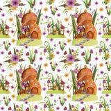 seamless modell Champinjonhus med blommor, gräs, sidor, staket, fjäril royaltyfri illustrationer