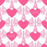 seamless modell Eiffeltornhandteckning och hjärtor med vingar Vektorillustrationen isoleras på vit bakgrund Royaltyfria Foton