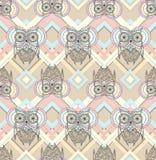 Seamless modell för gullig owl Royaltyfria Bilder