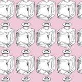 Seamless modell för handdraw för dof-fokus för flaskor grunt centralt exponeringsglas också vektor för coreldrawillustration royaltyfri foto