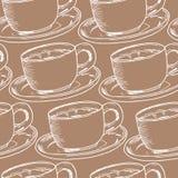 Seamless modell för handdraw Kopp kaffe tetid också vektor för coreldrawillustration stock illustrationer