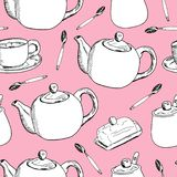 Seamless modell för handdraw Kopp kaffe tetid också vektor för coreldrawillustration royaltyfri illustrationer