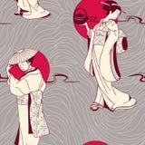 Seamless modell för japansk Geisha Arkivbild