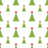 Seamless modell för julgranar också vektor för coreldrawillustration Enkel gräsplan och röda symboler på den vita bakgrunden Feri Royaltyfri Illustrationer