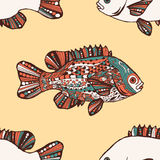 seamless modell Fisk Hand-dragen fantasifisk royaltyfri illustrationer