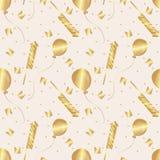 seamless modell Guld- flaggor, ballonger, firecrackers och konfettier vektor royaltyfri illustrationer