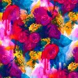 seamless modell Hand målad vattenfärgbakgrund abstrakt blommor buketten av blommor, steg, pionen, hälsningkort Royaltyfri Foto