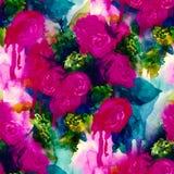 seamless modell Hand målad vattenfärgbakgrund abstrakt blommor buketten av blommor, steg, pionen, hälsningkort stock illustrationer