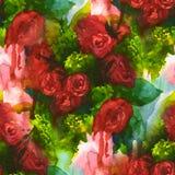 seamless modell Hand målad vattenfärgbakgrund abstrakt blommor buketten av blommor, steg, pionen, hälsningkort Royaltyfria Foton