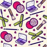 seamless modell inställda skönhetsmedel Ögonskugga, mascara, rodnad, blyertspenna för ögon vektor illustrationer