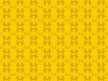 seamless modell Linjär abstrakt blomma på en gul bakgrund vektor arkivbild
