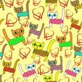 seamless modell Ljusa gulliga kattungar och älskahjärtor Passande som tapeten i barns rum, som att förpacka för en gåva royaltyfri illustrationer