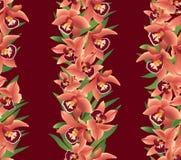 Seamless modell med blommaorchids Arkivfoto