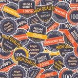 Seamless modell med etiketter för kvalitetsGuarantee Royaltyfria Bilder