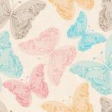 Seamless modell med flygfjärilar vektor illustrationer