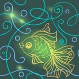 Seamless modell med guldfisk Royaltyfri Foto
