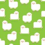 Seamless modell med lambs Vita fluffiga får stock illustrationer