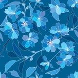 Seamless modell med lila och blåa blommor Fotografering för Bildbyråer