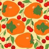 Seamless modell med persimmonen och Cherry Royaltyfri Fotografi
