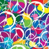 Seamless modell med symboler av fred Arkivbilder