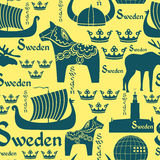 Seamless modell med symboler av Sverige Royaltyfria Bilder
