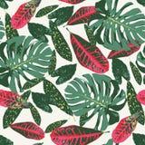 Seamless modell med tropiska leaves vektor illustrationer