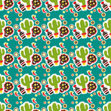 seamless modell Mexicansk ferie Cinco de Mayo Hand dragen packe Arkivfoton