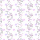 seamless modell Muffin och hjärta Royaltyfria Foton
