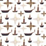 seamless modell Olje- lampa, stearinljus och stjärnor stock illustrationer