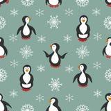 seamless modell Pingvin och snowflakes stock illustrationer