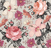 seamless modell Realistiska isolerade blommor för prydnadpapper för bakgrund geometrisk gammal tappning Rosa hibiskusmalva för ka Arkivbilder