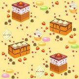 seamless modell s?t konfekt Nya feriekakor, marshmallower, jordgubbesötsaker Passande som tapeten i köket stock illustrationer