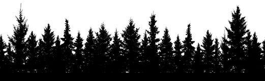seamless modell Skog av konturn för julgranträd stock illustrationer