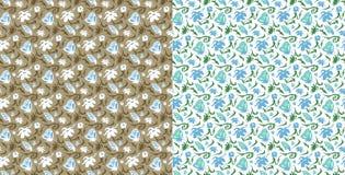 seamless modell Stiliserade blommor och fjärilar abstrakt bakgrundsvektor Två varianter Royaltyfri Fotografi