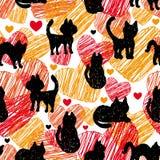 seamless modell Svarta konturer av katter på orange röd bakgrund med hjärtor Arkivbild