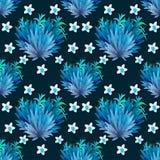 seamless modell Tropisk sidavattenfärgbakgrund Tropisk sidavattenfärgbakgrund Blommaillustrationer vektor illustrationer
