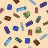 seamless modell Uppsättning av lopppåsar och resväskor vektor illustrationer