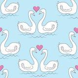 seamless modell white f?r swans tv? Det förälskade badet för fåglar i vattnet Solen i formen av hjärtan Romantisk f?r?lskelse F?r royaltyfri illustrationer