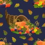 seamless modell Ymnighetshorn Tacksägelsefest mogna grönsaker Pumpa, gurkor, tomater, aubergine, spanska peppar och mushroo royaltyfri illustrationer