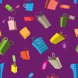 seamless modellförsäljning Påsar med etiketter Arkivbild