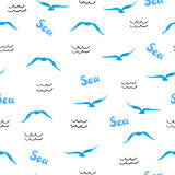 seamless modellhav Vattenfärgseagullskonturer royaltyfri illustrationer