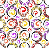 Seamless modern background composed of circles and dots. In warm colors stock illustration