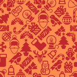 Seamless Modern Christmas Background Pattern. A seamless modern Christmas background pattern design with Santa robin, snowman, snowflakes, gifts and other Royalty Free Stock Photos
