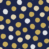 Seamless modern dark blue vector doodle circle dot texture, dry brush ink art. Stock Photo